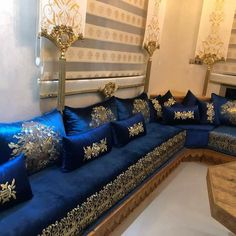 Blue Living Room Decor, Sofa, Couch, Pakistani Dress Design, Knitted Blankets, Curtains, Furniture, Home Decor, Islam