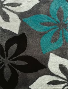 Floral Grey with Turquoise Indoor Bedroom Shag Area Rug from Rug Addiction