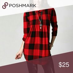 Buffalo check tunic Beautiful red and black Buffalo check tunic perfect for wearing with leggings. True to size. New without tag. Reborn Tops Tunics