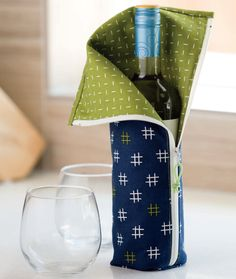 Time to wine and dine! With alcohol or without, bring the best-dressed wine bottle to any party and celebrate in style. Find the pattern in Simple, Fun & Quickly Done by Terry Atkinson.
