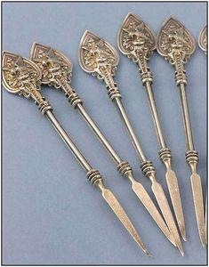 """Whiting's """"birdnest"""" pattern - antique silver nutpicks c1870"""