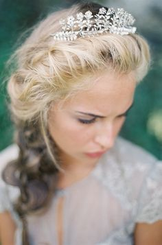 Hairstyle | Tiara | See more wedding #inspiration on SMP: http://www.StyleMePretty.com/2014/01/31/romantic-grey-gold-wedding-inspiration/ Photography: Darcy Benincosa