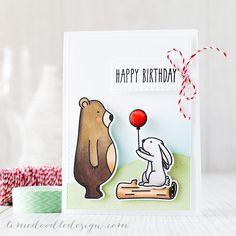 Creating a scene with the adorable Mama Elephant Woodland Gifts set.  Debby Hughes, Limedoodle, Birthday, bear, bunny, balloon, baker's twine
