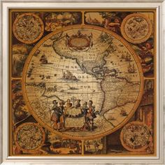 Framed Art Print 'Cartographica by Max Besjana 29 x (Max Besjana 'Cartographica Framed Art Print), Black, Amanti Art New World Map, Old World Maps, Antique World Map, Antique Maps, Antique Plates, Treasure Maps, Wall Maps, Vintage Maps, Vintage Globe