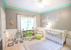 Gray, White, Teal and Lime Green Nursery - how fun is this painted crown molding?! Fun pop of color.
