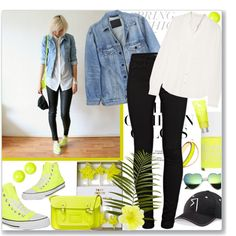 How to style your Converse Chuck Taylor in Neon Yellow ... by firstclass1 on Polyvore featuring polyvore, fashion, style, Vanessa Bruno, Y/Project, J Brand, Converse, The Cambridge Satchel Company, DOUUOD and Alexis Bittar