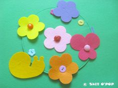 Felt Flower Meadow Buttoning Activity Quiet Book Page by ShillOPOP