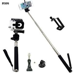 PINPO(TM) Black Extendable Waterproof Selfportrait Photo Selfie Handheld Stick Monopod With Adajustable Phone Holder Stand For iPhone 5/5s Samsung Blackberry Camera & Universal Adaptor for Gopro Hero 1/2/3/3+ HD  PINPO $8.60
