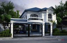 white and blue house. Philippine Houses, House Design Photos, Mansions Homes, House Plans, Home And Family, Floor Plans, Flooring, Architecture, House Styles
