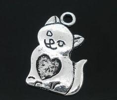 40 PCs Silver Tone Cat/Heart Charms Pendants 22x14mm