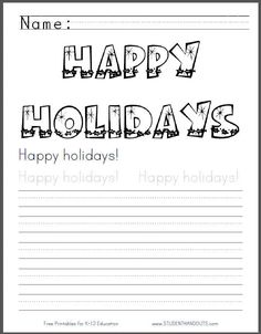 happy holidays coloring sheet with handwriting practice