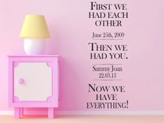 Personalise your room with your families' love story!  First We had each other, then we had you, now we have everything.  All our wall stickers/decals are available in a great range of sizes and colours - and can be personalised to be truly custom.