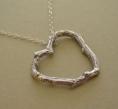 floating heart twig necklace sterling silver by stratussilver, $35.00