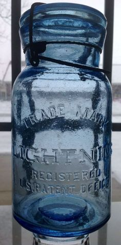 Cornflower Blue Lightning Mason Fruit Jar Quart Size Putnam