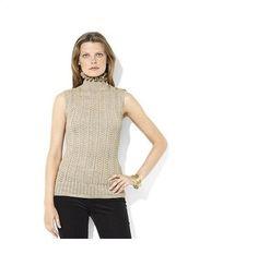 Ralph Lauren  Metallic Ruffle Crochet Turtleneck
