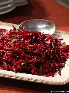 Grated Beet Salad--tried this today (I am not the biggest fan of beets.) and it was amazing! I could eat beets like this everyday. Would be a great addition to a leaf lettuce salad or a roasted winter squash salad Beetroot Recipes, Beet Salad Recipes, Raw Food Recipes, Vegetable Recipes, Vegetarian Recipes, Cooking Recipes, Healthy Recipes, Passover Recipes, Smoothie Recipes