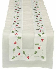 Xia Home Fashions Classic Holly Embroidered Cutwork Holiday Table Runner, 8-Inch…