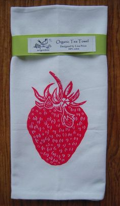 New Organic block print strawberry towel, from Artgoodies on Etsy