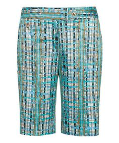 Look what I found on #zulily! White & Teal Plaid Bermuda Shorts by Sport Haley #zulilyfinds