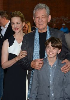 """The cast of """"Mr. Holmes"""" arrives at the United Kingdom movie premiere - June L to R: Laura Linney, Sir Ian McKellan, Milo Parker. Kingdom Movie, Laura Linney, United Kingdom, June, It Cast, The Unit, Music, Movies, Fictional Characters"""