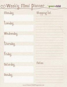 Printable weekly meal planner.