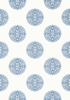 Halie Circle #wallpaper in #blue from the Enchantment collection. #Thibaut