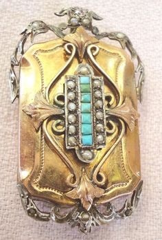 SUPERBE VICTORIAN ANTIQUE TURQUOISE SILVER GP CRYSTAL TWO PHOTO LOCKET.