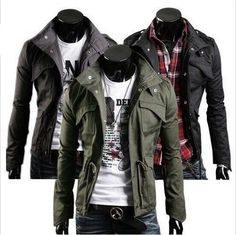 Slim Fit Mens Military Style High Collar Casual Jacket Zip Button Coat PK40 in Clothing, Shoes & Accessories, Men's Clothing, Coats & Jackets | eBay