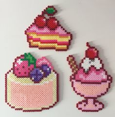 Cake Slice, Cake and Ice Cream Sundae perler beads by PixelPrecious