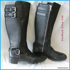Vintage Quilted Harness Boots Leather Size 9 .5 Eu 41 UK 7 I BIKER Knee Black Flat Brazil