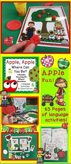 $ Practice Where? questions with a cute apple-themed interactive reader! Class book cut and paste student reader, PowerPoint, puppet, cookie sheet activities for concepts and following directions too!