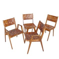 Woven Leather And Wood Chairs. Modern Dining Room ...