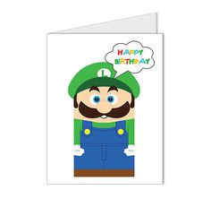 Get 10 OFF  Children Kid Happy Birthday Card Nintendo by XTdesign, $4.99