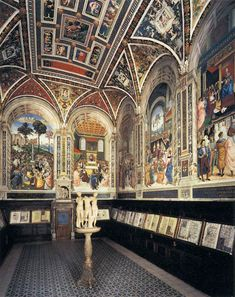 The Piccolomini (Music) Library in the Duomo, Siena, Italy. The floor and ceiling are also works of art. The floor of the Duomo is fantastically amazing; Google 'The Pavement of the Cathedral of Siena'.