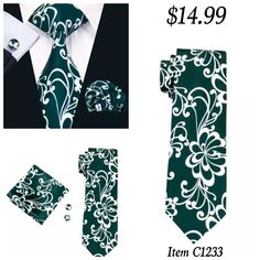 "Coordinating brand new silk tie set. Includes tie, pocket square (handkerchief) and cuff links.      Tie length is 61"" from top to bottom. The width at the largest portion is 3.25"".    Please note, this item requires three (3) weeks to ship. Please take the shipping time into consideration when placing your order. Thank you ~ 📦 