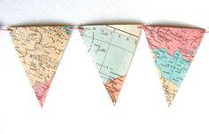 vintage map bunting