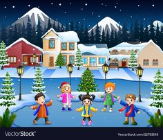 Happy kid group singing in the snowy village vector image on VectorStock Fun Activities For Kids, Christmas Activities, Rainy Season Pictures, Picture Story For Kids, Kids Reading Books, School Clipart, Yui, Stories For Kids, Children's Book Illustration