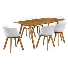 en.casa]® design esstisch mit 6 stühlen weiß / bambus (180x80cm, Esstisch ideennn