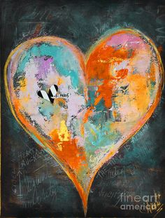 Happy Heart Abstracted Painting  - Happy Heart Abstracted Fine Art Print