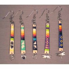 Quilled earrings with charms, Michael Red Cloud (Lakota)