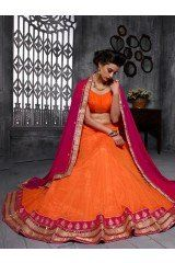 Orange Net Lehenga Choli with Diamond Work