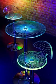 """LED Acrylic laser-etched table & bar stools 