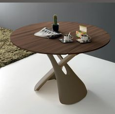Modern round convertible coffee table to dining table in white or walnut with bronze Dining Table Height, Coffee Table Height, Coffee Table Desk, Unique Coffee Table, Wooden Dining Tables, Modern Dining Table, Round Dining Table, Kitchen Dining, Dining Chairs