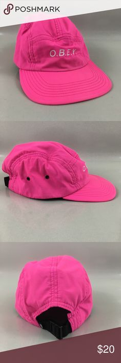 Obey worldwide neon pink nylon hat Item is in good condition with no damage  rips or stains Accessories Hats 9ef44ca6daad
