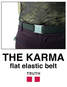 "Meet the ""mini version"" of our popular Seva flat belt called the Karma. Adjustable and keeps your tummy flat :) #veganfashion $28.00 www.truthbelts.com and www.amazon.com"