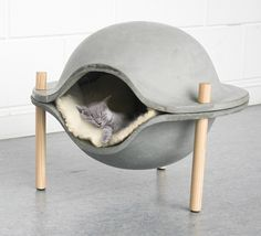 Pet bed made of concrete designed by Geerke Sticker. (The Design Walker) Concrete Crafts, Concrete Art, Concrete Projects, Concrete Design, Concrete Bathroom, Concrete Furniture, Pet Furniture, Furniture Design, Furniture Movers