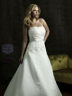 A-line Strapless Chapel Train Satin Organza Plus Size Wedding Dress with some type of strap added? Wedding Dresses Canada, Plus Size Wedding Gowns, Wedding Dresses For Sale, Princess Wedding Dresses, Wedding Dress Styles, Allure Bridals, Wedding Dress Train, Luxury Wedding Dress, Wedding Beauty