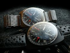 Heuer Carrera 510.523 & 510.511 PVD / Lemania 5100   Gorgeous pair.