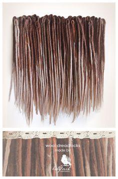 Wool dreadlocks brown beige blonde dreads by BullfinchHandmade #wooldreadlocks #dreadlocks #dreads #hairextensions #dreadsextensions #woolies