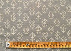 Hand Block Print, Cotton Fabric. Natural Dyes. 2½ Yards. Gray & Beige $24.99